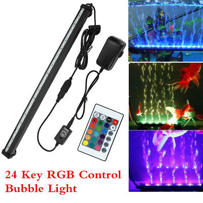Aquarium Fish Tank Submersible LED Light Bar Air Bubble Pump with Remote Control
