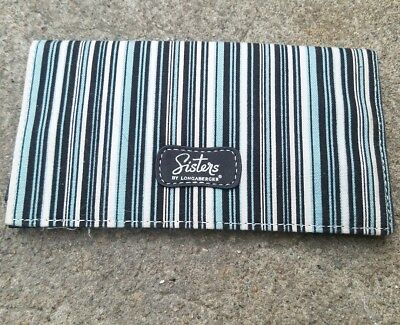 Longaberger Sisters blue, white and black striped checkbook cover