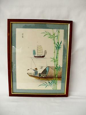 Vintage Chinese Painting On Silk - Fisherman - Signed