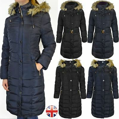 Ladies Womens Plus Fur Hooded Quilted Padded Winter Coat Puffa Parka Jacket
