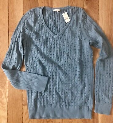 NWT Talbots Blue Thin Cable Knit Cotton Long-Sleeve Sweater - S