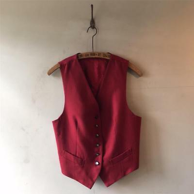 Vintage 1930s/40s/90s Deep Red Worsted Wool Cinch Back Waistcoat S