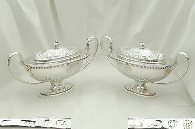 Rare Pair Of George Iii Hm Sterling Silver Sauce Tureens 1781