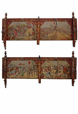 Pair 19th Century  Wall ArtHand Painted Italian Processional Goat Cart Panels
