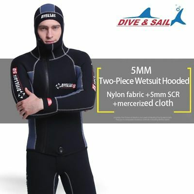 DIVE&SAIL Men Scuba Cloth Wetsuit & Hood Zipper Split Spearfishing Wet Suit BG