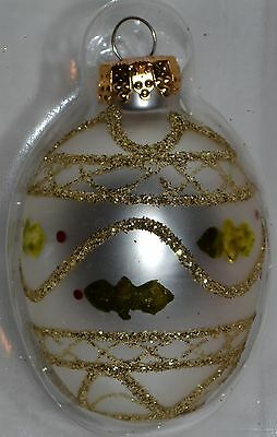 Glass Egg Ornament~Ivory White~Gold Sparkle~Christmas~Easter~Holiday~Tree~NEW