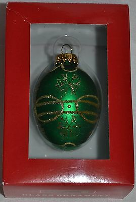 Glass Egg Ornament~Glitz Green~Gold Sparkle~Christmas~Easter~Holiday~Tree~NEW