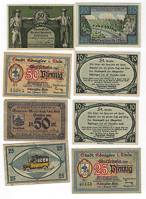 (8) 1920's German Notgeld High Grade Notes