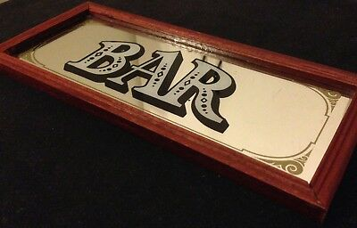 SMALL BAR MIRROR Vintage Sign Wooden Frame Mancave Alcohol Memorabilia Beer BAR