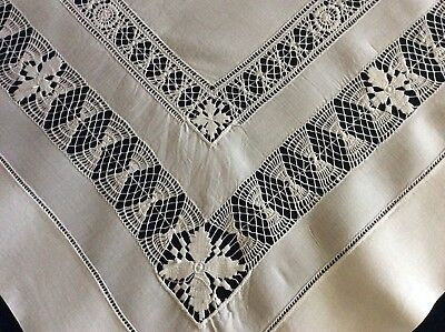 Stunning Antique White Irish Linen Tablecloth ~ Drawn-Thread Work