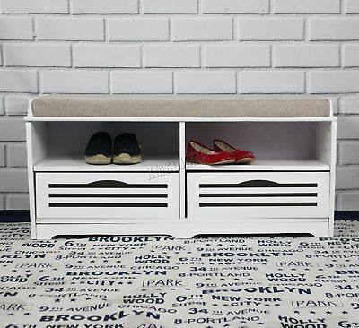 FoxHunter Shoe Storage Bench 2 Drawers Padded Seat Stool Cabinet MDF SB06 White