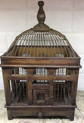 "Vintage Wood Metal Wire Bird Cage DOME TOP WORKING DOOR AND TRAY 16"" X 10"" X 7"""