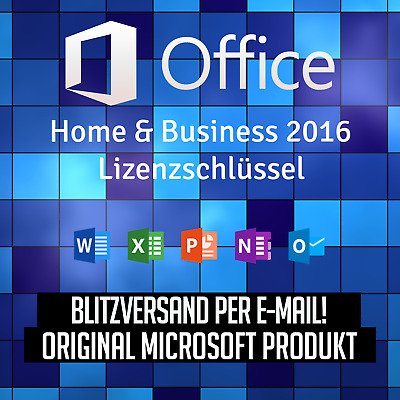Microsoft Office Home and Business 2016 mit Rechnung - schneller Versand!