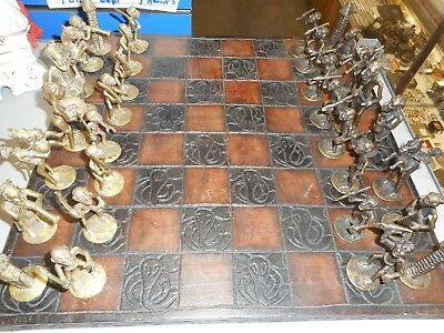 Vintage Carved African Chess Board W/ Brass Pieces