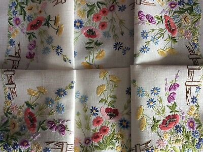 Gorgeous Vintage Linen Hand Embroidered Tablecloth ~ Wildflower Meadow