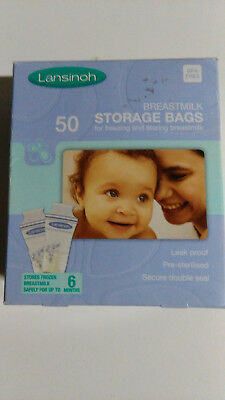 Lansinoh Baby Breast Milk Storage Bags 50 Pieces Double Pre Sterilized Zipper