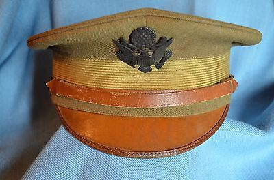 WWI Service Dress Visor Cap with Pointed Peak