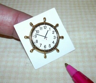 Miniature Gold Metal Helm Clock w/Paper Face: DOLLHOUSE Nautical 1/12