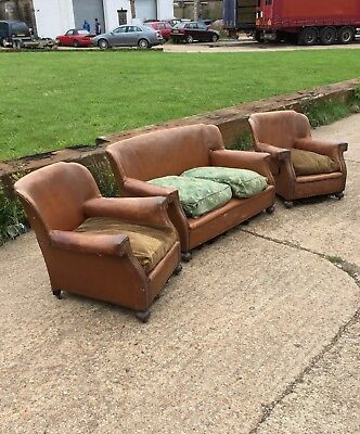 1930's Vintage Brown Shabby Leather Club Sofa & 2 Armchairs