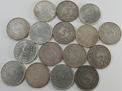 1951-1974 Germany 5 Mark Silver ~ Lot of 16 Coins, 5.7 Troy Ounces 62.5% Silver