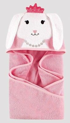 HUDSON BABY Animal Face Hooded Baby Toddler Towel PINK BUNNY - Great Gift