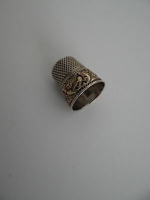 Antique Stern Brothers Sterling Silver Thimble Gold Band 1890-1908