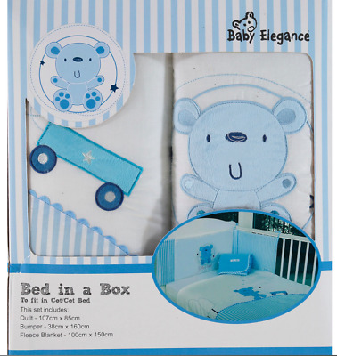 BABY ELEGANCE Blue Bear Cot 3-Piece Bumper Set / Nursery Bedding