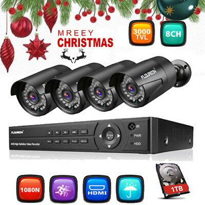 Floureon HDD 8CH 1080N 5IN1 DVR 2MP 3000TVL Outdoor Camera CCTV Security System