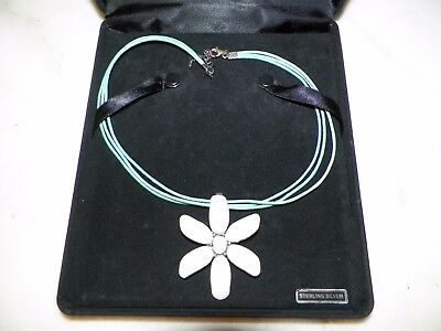 Qvc Hsn Sterling Silver & Enamel Flower Necklace With Box