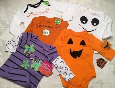 Lot Of 5 Baby Halloween Bodysuits Long Sleeve NB 3 - 6 - 9 Months Romper