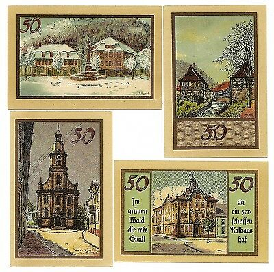 **Undated SUHL Germany Banknote - LANDMARKS~ Complete Set of 50 pf Notgeld