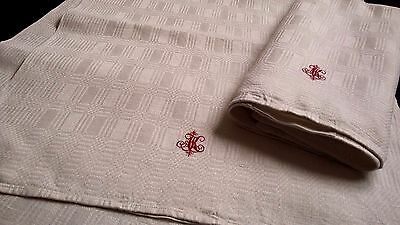 two old heavy handwoven linen Towels / Runners with red Monogramm