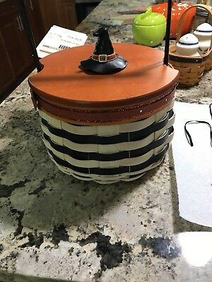 Longaberger WICKED WITCH BASKET w/ Protector, WITCH BOOTS Tie-On, rare witch lid