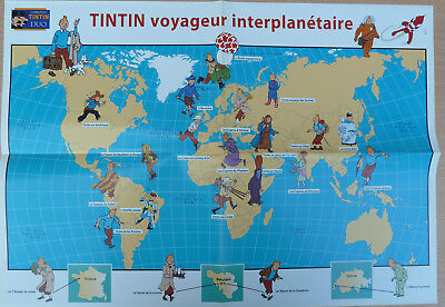 TINTIN Hergé AFFICHE Collection DUO 60x42cm Voyageur interplanétaire TBE