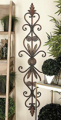 Large Old World Vintage Scrolling Wrought Iron Wall Grille Art Panel Home Decor