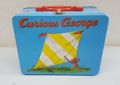 Vintage Blue Red Curious George Metal Tin Lunchbox Lunch Box