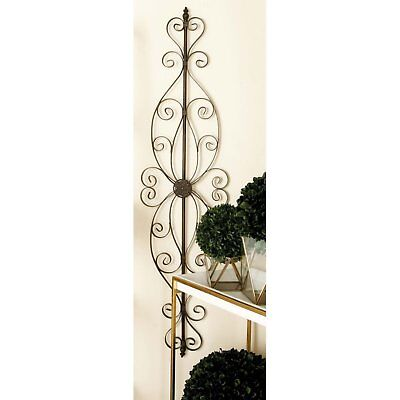 Large Decorative Vintage Old World Scrolling Wrought Iron Wall Grille Art Panel