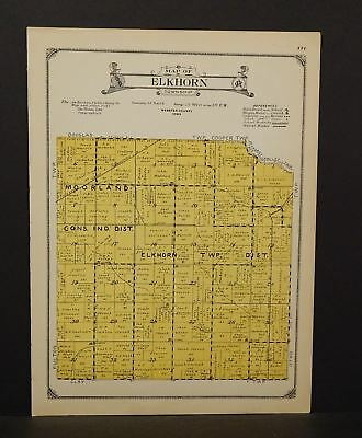 Iowa Webster County Map Elkhorn Township 1923  W13#98
