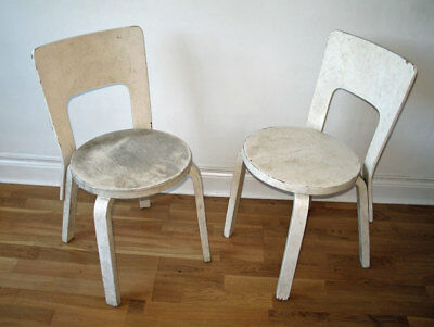 Pair Vintage Alvar Aalto Chairs No. 66 for Restoration Artek Finmar 1930s