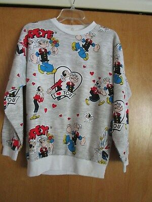 Popeye and Olive Oyl sweatshirt, gray with white trim, size and brand unknown