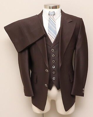 Vintage Mens 40R Custom 3 Piece Brown Suit