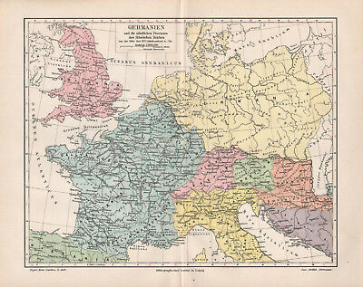 Antique map. HISTORIC MAP. GERMANIA & NORTHERN LANDS OF ROMAN EMPIRE. 1905