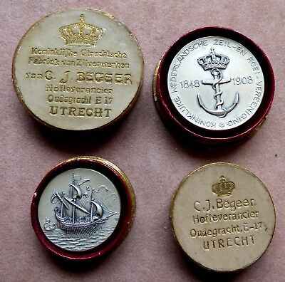 Two Royal Netherlands Yacht and Rowing Club Silver Medals - 1908 Utrecht