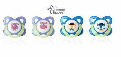 Tommee Tippee Glow in Dark Essentials Orthodontic Latex Soothers 6-12m (2 Pack)