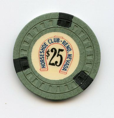 Horseshoe Club, Reno NV, $25.00 chip, 1956 issue
