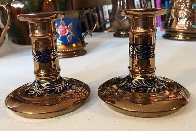 Antique English Staffordshire Copper Luster Lusterware Candle Sticks Holders