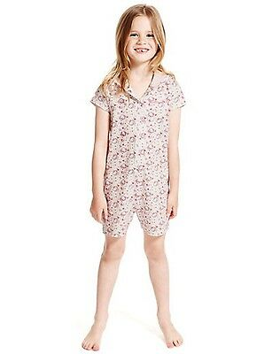 BNWT GIRLS PINK HELLO KITTY PYJAMAS PJS PLAYSUIT ALL IN ONE Age 6-7 yrs
