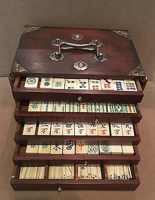 Antique Chinese Hand-Carved Mahjong Set Bamboo & Bovine Bone in Wood Chest c1930