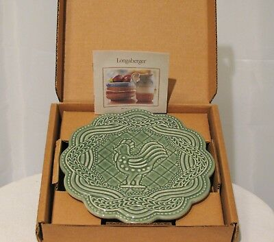 Vintage Longaberger Pottery Ivy Green Trivet With Rooster Chicken   Euc With Box
