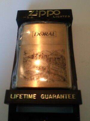 "Zippo Brass Windproof ""Doral"" Lighter New/Old Stock Cigarette Advertising."